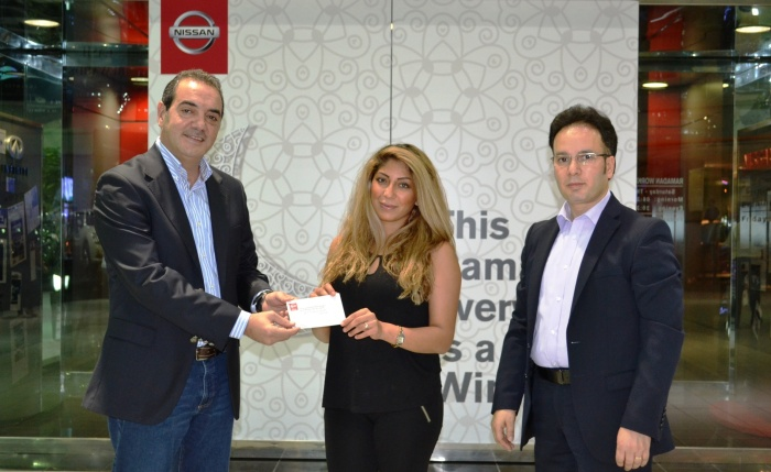 Nissan's campaign kicked off with a lucky winner, Ms. Fatima Bahman M. Nowroozi walked out of the Dubai Deira showroom with AED 50,000 in cash.